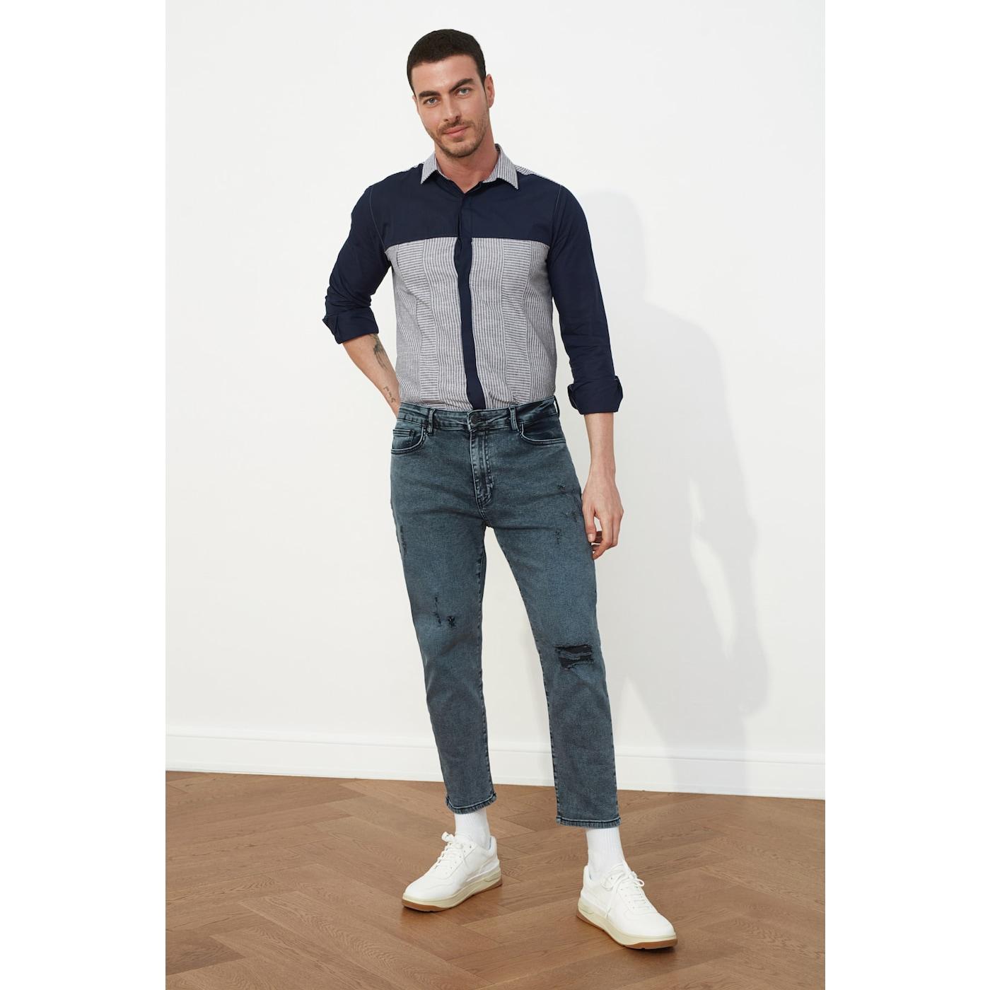 Trendyol Mens Destroyed Slim Crop - Jeans pánské Black 30