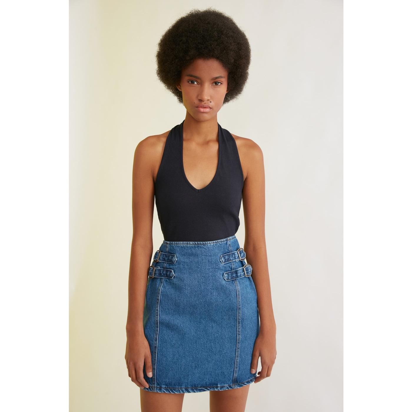 Trendyol Mini Denim Skirt WITH Blue Waist Buckle DetailING dámské Navy 36