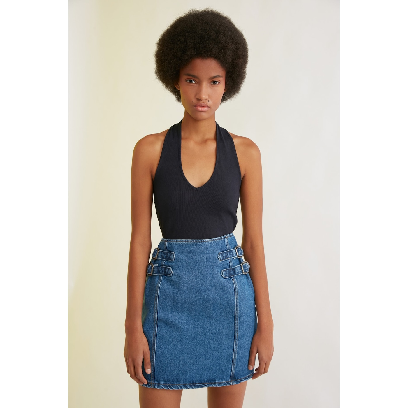 Trendyol Mini Denim Skirt WITH Blue Waist Buckle DetailING dámské Navy 40