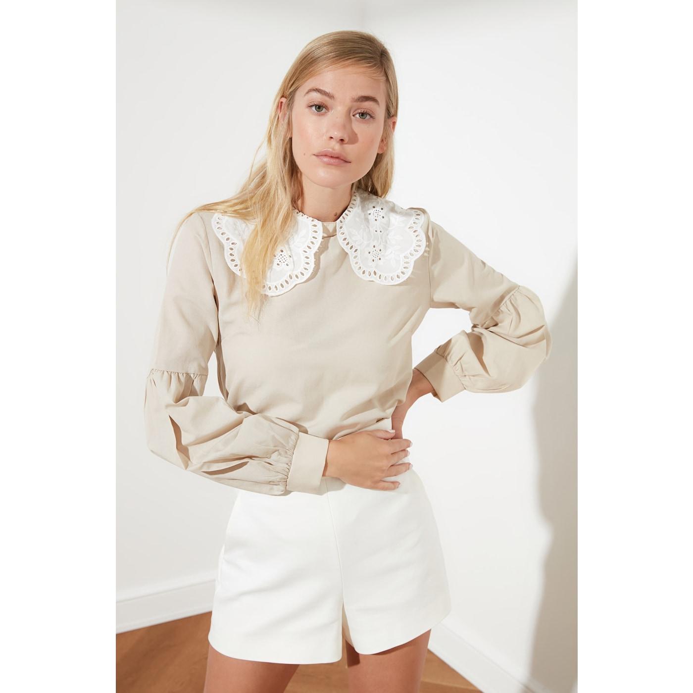 Trendyol Mink Collar Detailed Blouse dámské 34