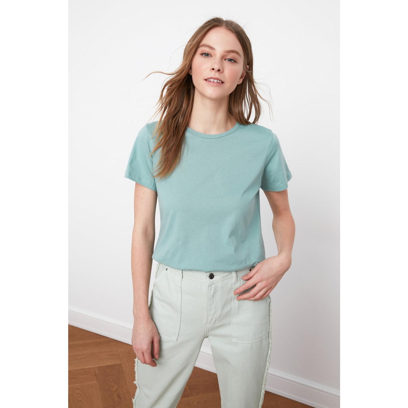 Trendyol Mint 100% Cotton Süprem Bicycle Collar Basic Knitted T-Shirt dámské XS
