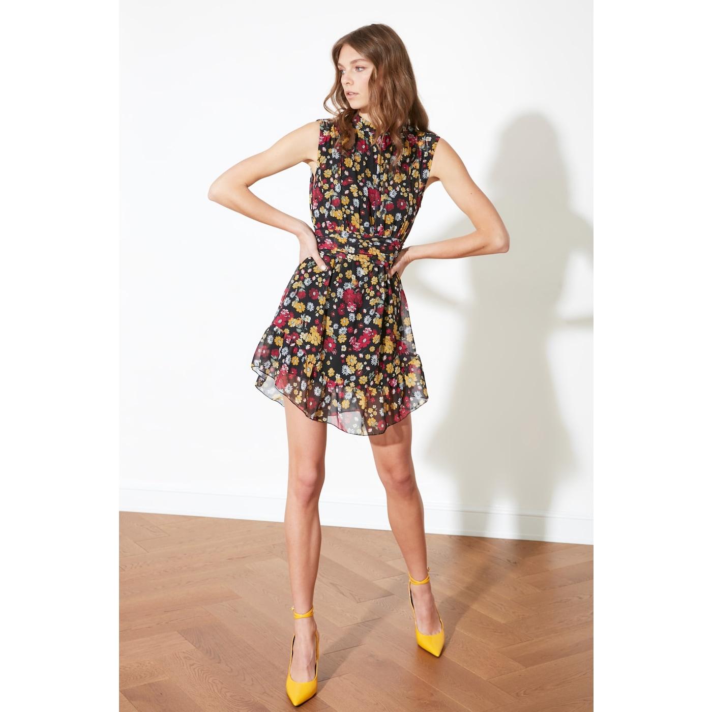 Trendyol Multicolored Flywheel Dress dámské 38
