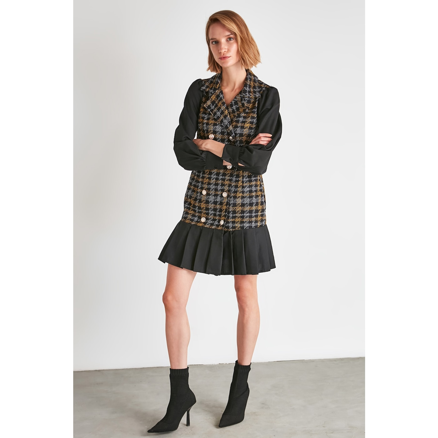Trendyol Multicolored Tweed Jacket Dress dámské 36