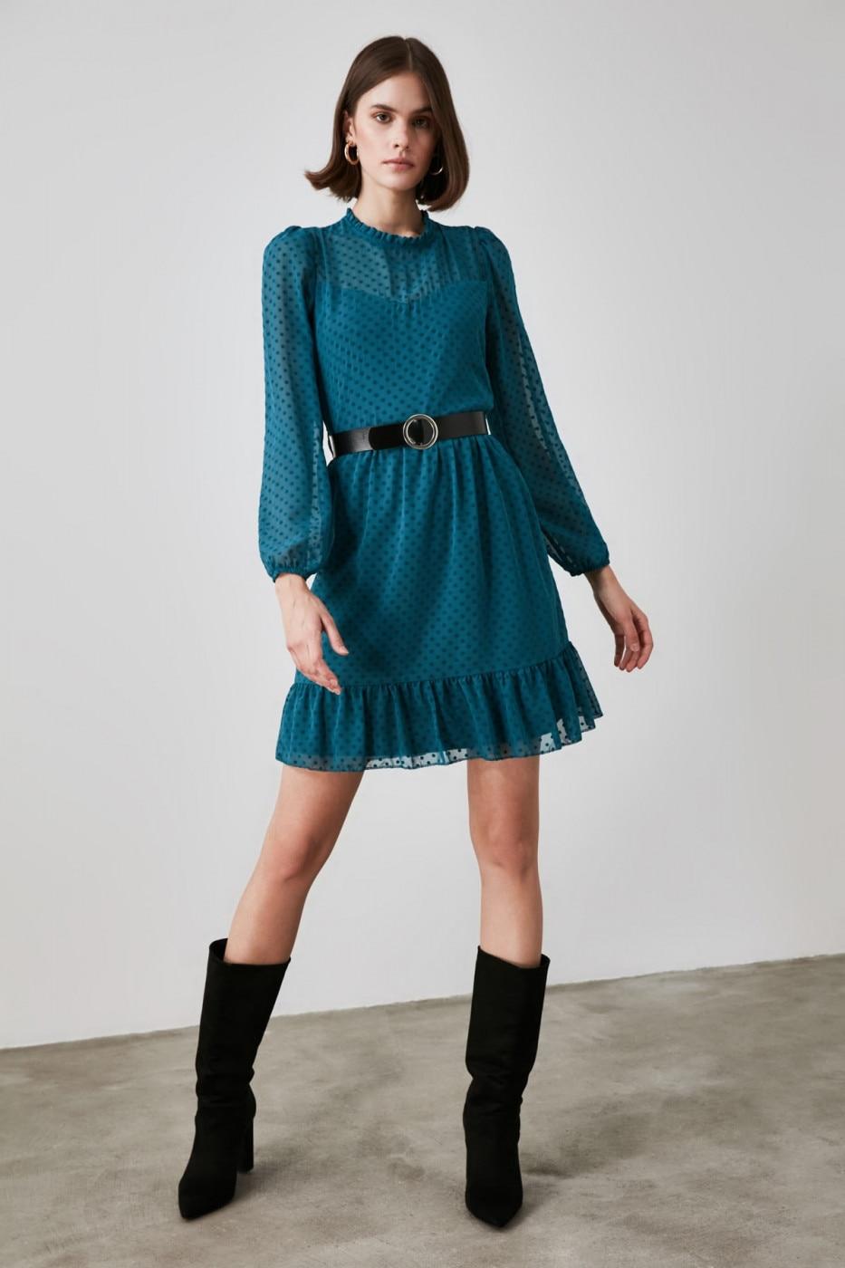 Trendyol Oil Belted Fabric Textured Dress dámské Petrol 34