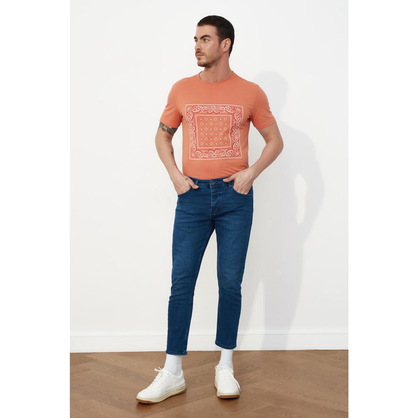 Trendyol Outdoor Navy Blue Male Skinny Crop Jeans AÇIK LACİVERT 33