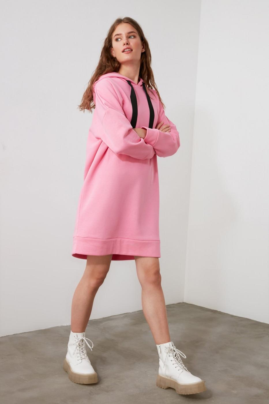 Trendyol Pink Hooded Knitted Sweat Dress dámské S
