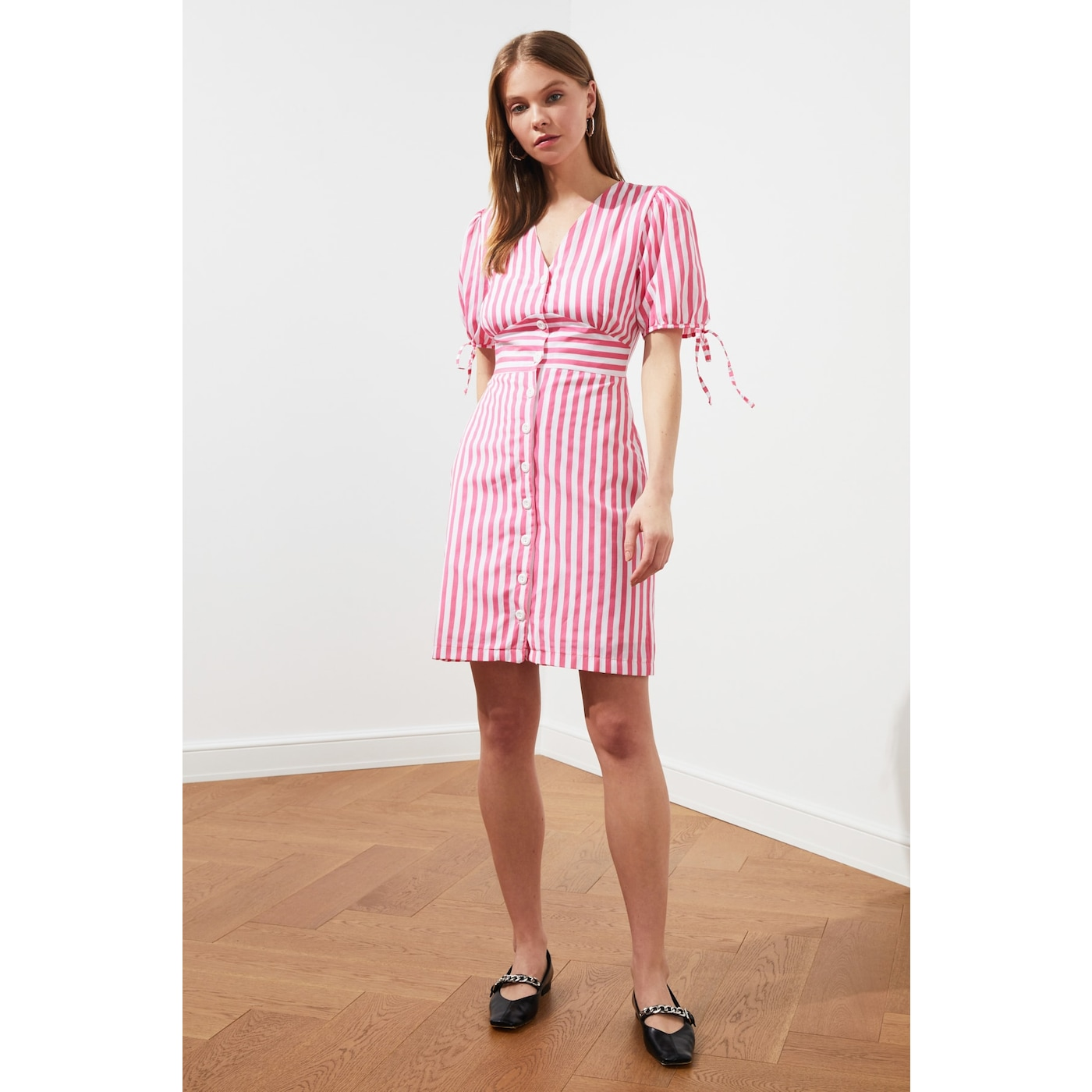 Trendyol Pink Striped Shirt Dress dámské 34