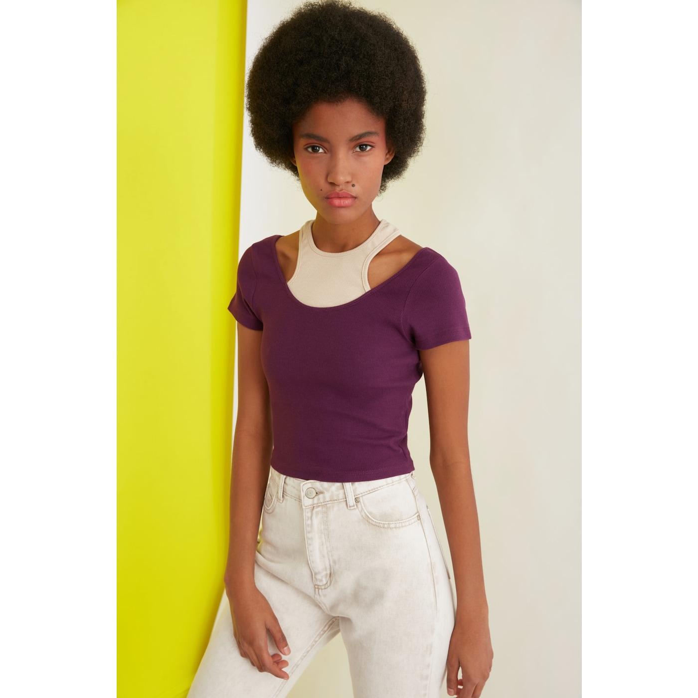 Trendyol Purple Cut Out Detailed Knitted Blouse dámské XS