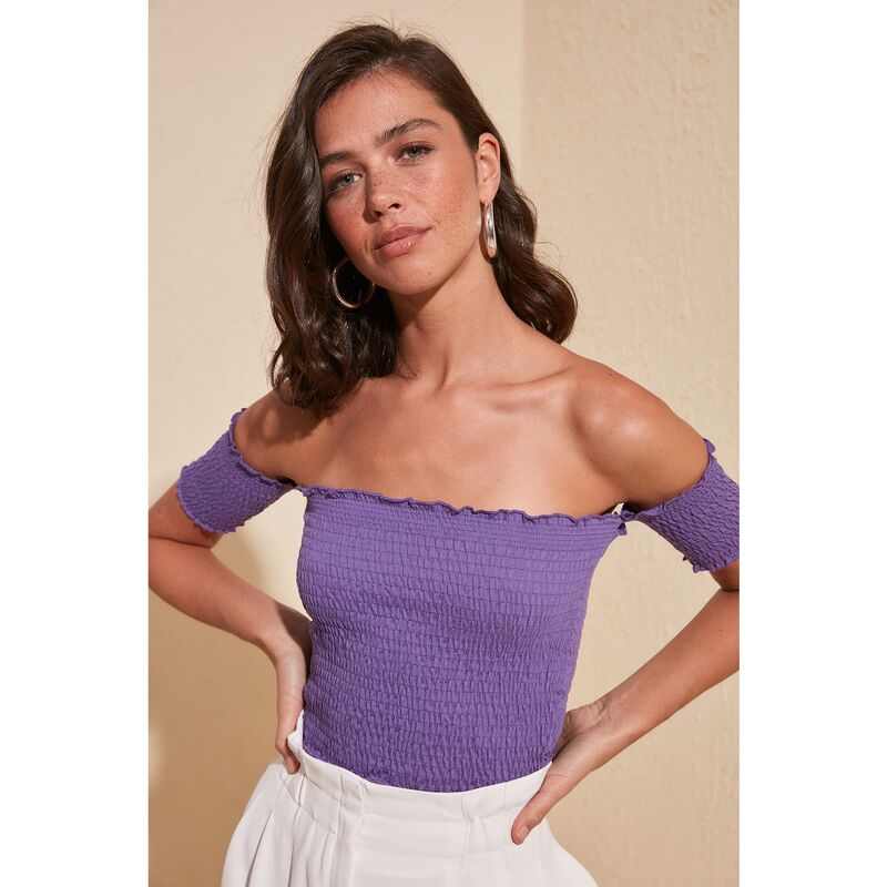 Trendyol Purple Gipeli Knitted Blouse dámské S