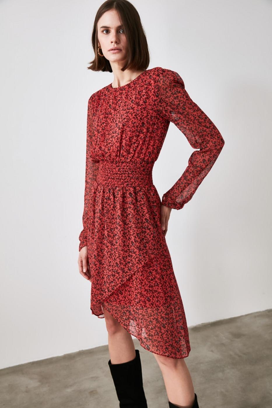 Trendyol Red Patterned Gipe Detailed Dress dámské 34