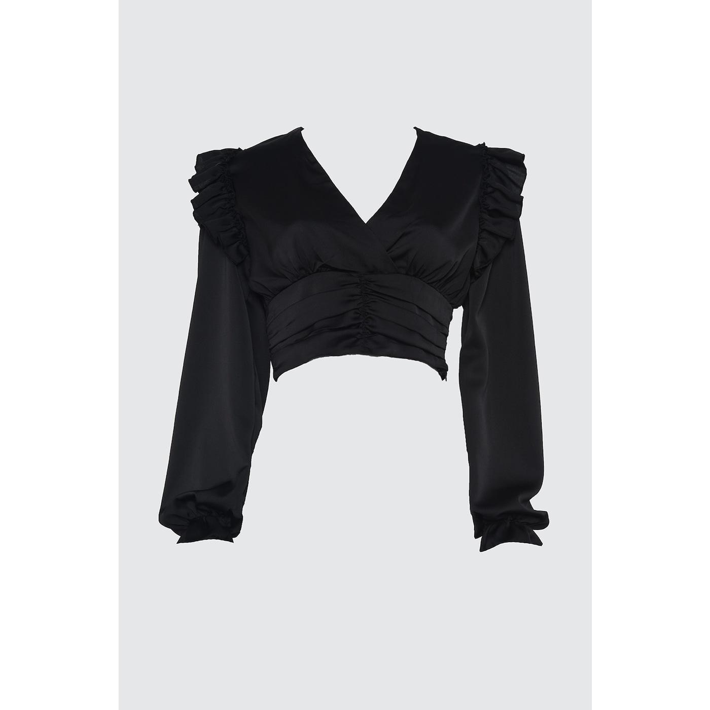 Trendyol Satin Blouse with Black Ruffin Detail dámské 34
