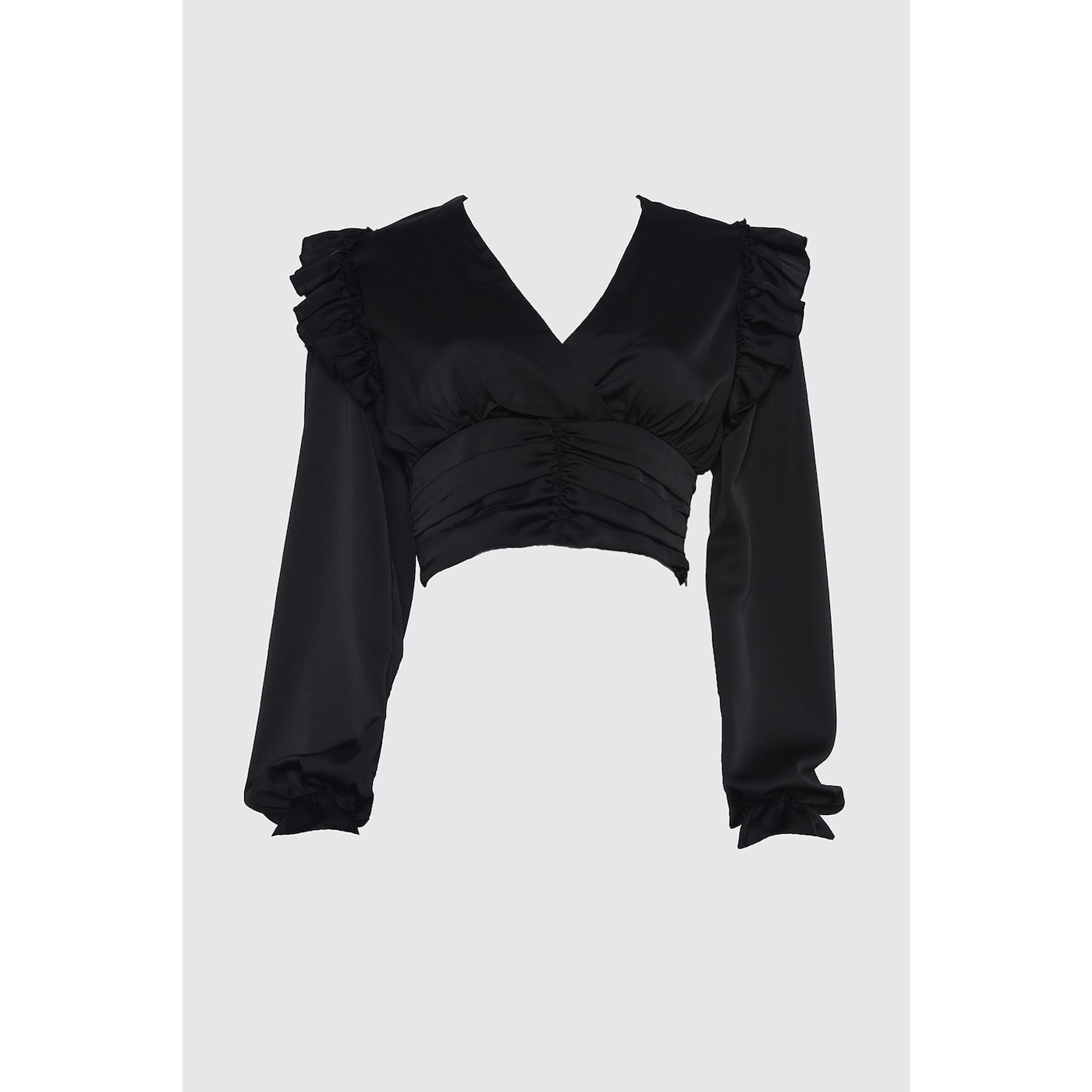Trendyol Satin Blouse with Black Ruffin Detail dámské 36