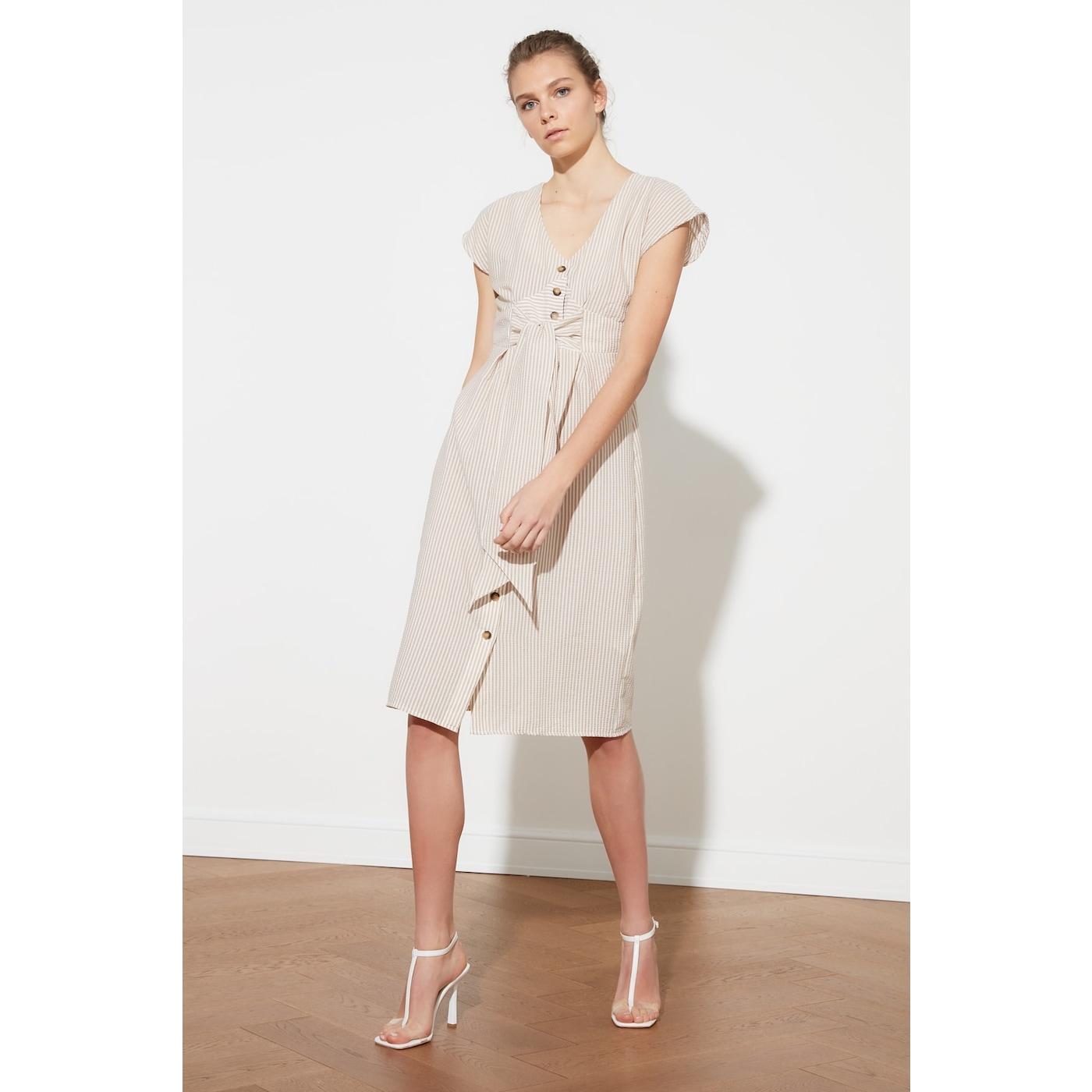 Trendyol Striped Dress with White Tie DetailING dámské 38