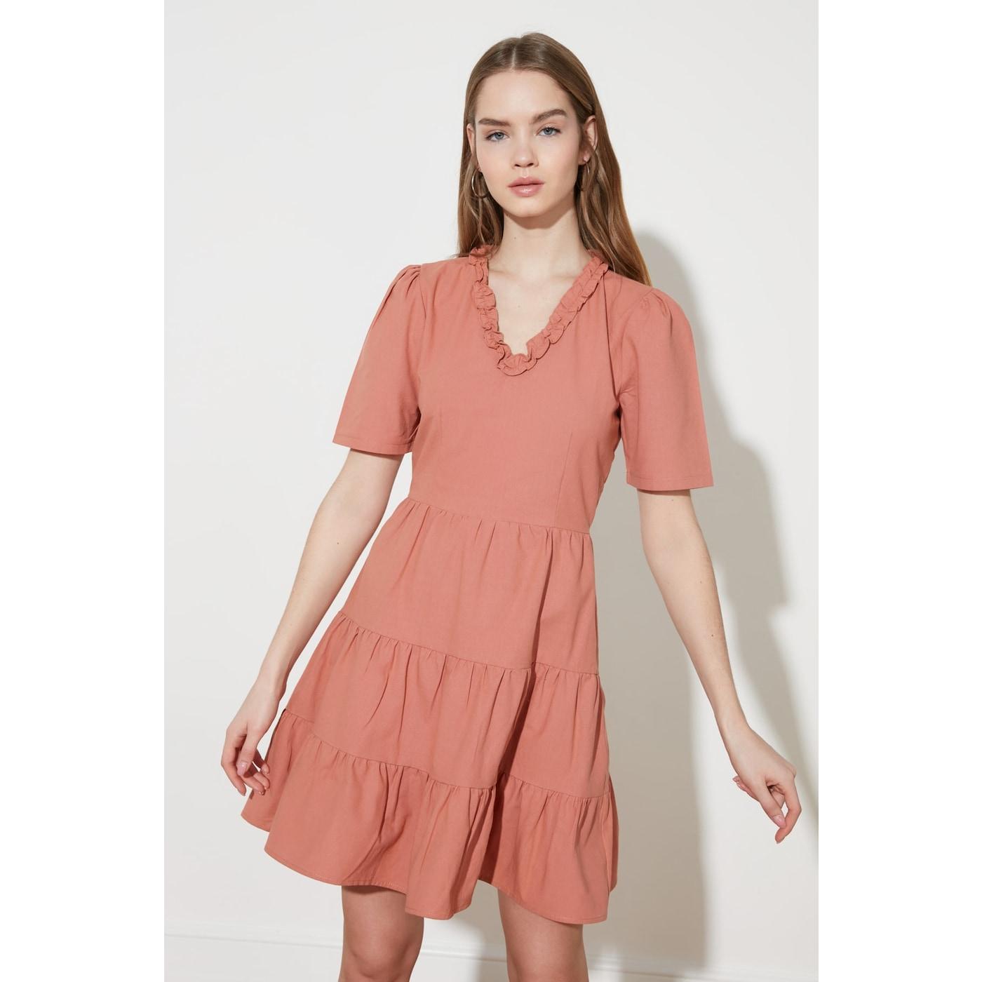 Trendyol Tile Collar Detail Dress dámské 40