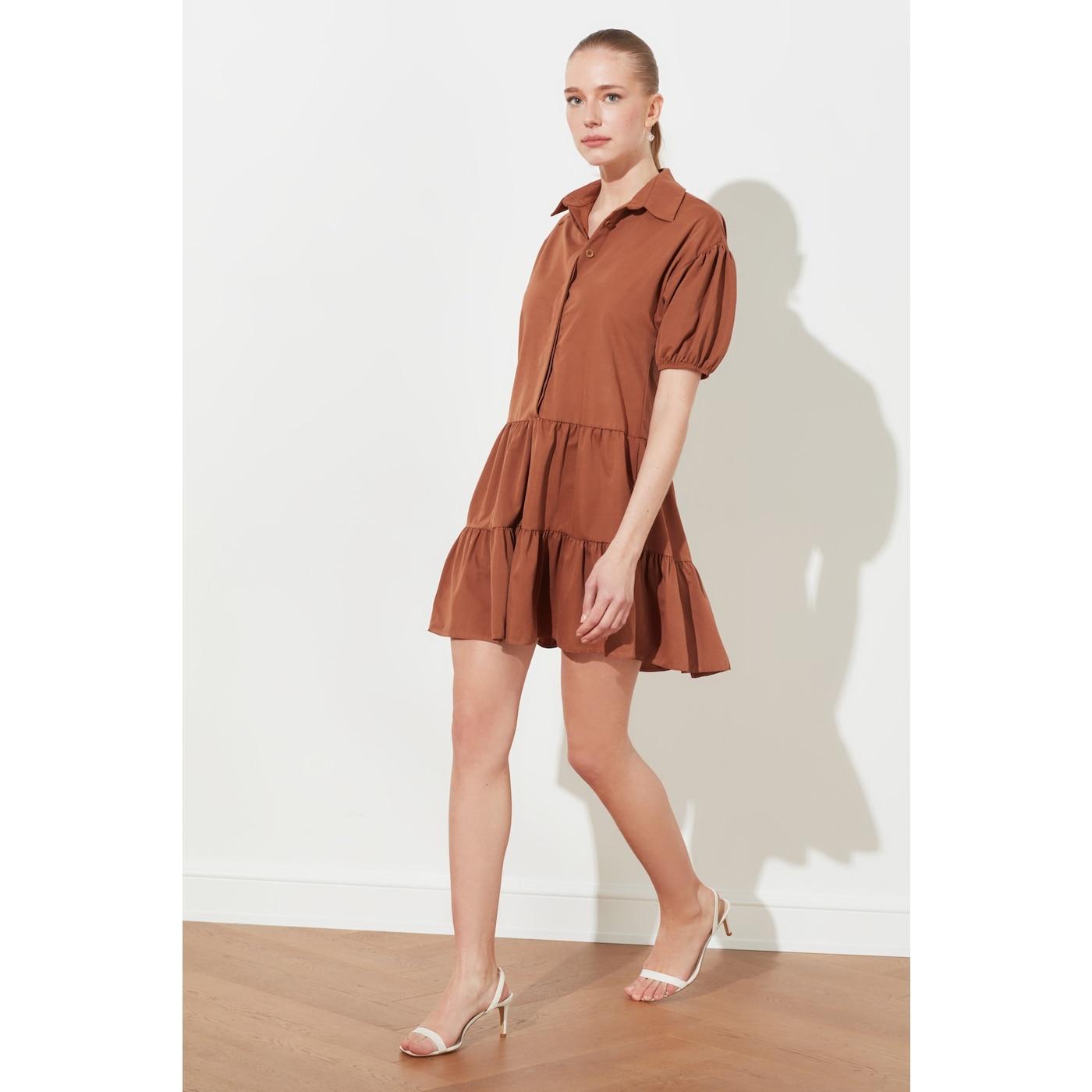 Trendyol Tile Flywheel Shirt Collar Dress dámské 34