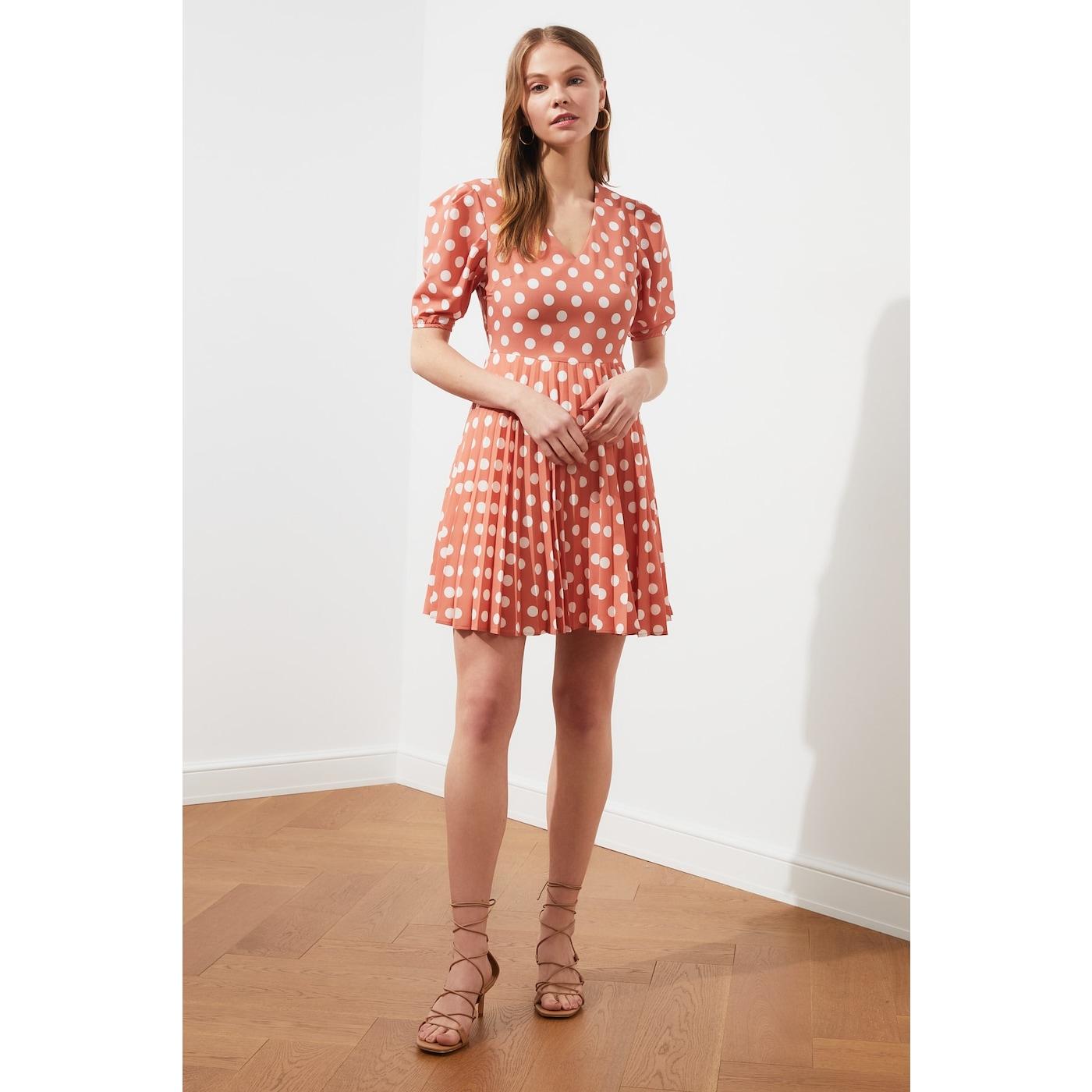 Trendyol Tile Polkalic Pleat Dress dámské 38