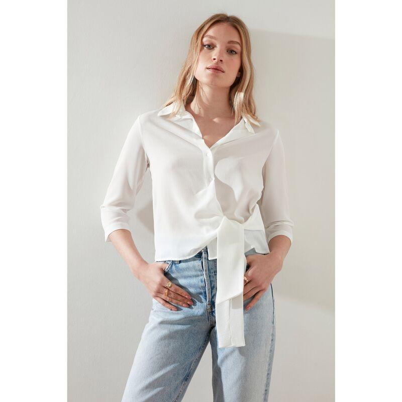 Trendyol White Tie Detail Shirt dámské 38