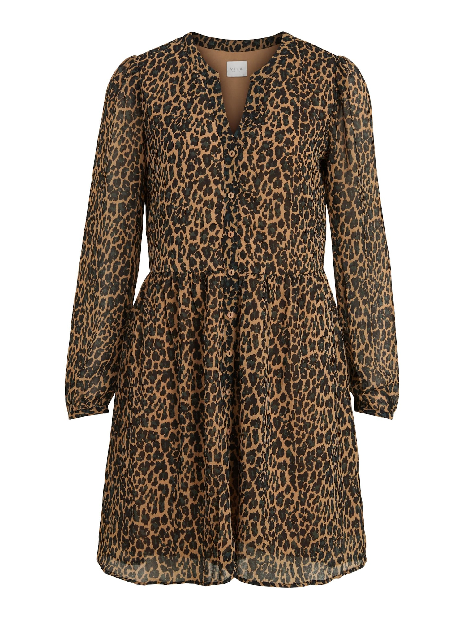VILA Košeľové šaty Amione  svetlohnedá / čierna / grafitová dámské 40