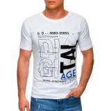 Edoti Mens printed t-shirt S1396 pánské White M