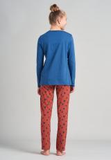 SCHIESSER Pyžamo  námornícka modrá / svetloružová / tmavooranžová dámské 152