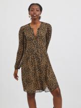 VILA Košeľové šaty Amione  svetlohnedá / čierna / grafitová dámské 42