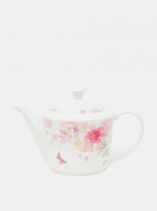 Biela vzorovaná kanvice na čaj Dakls 1,2 l