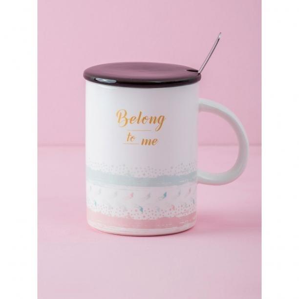 Ecru cup with a spoon Neurčeno One size