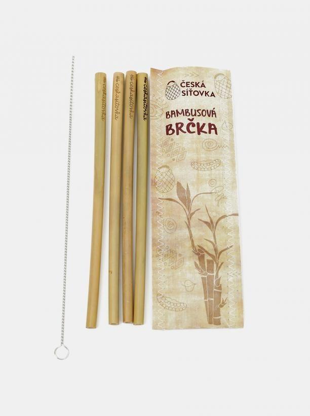 Sada štyroch bambusových slamiek s čistiacou kefkou Česká síťovka hnedá