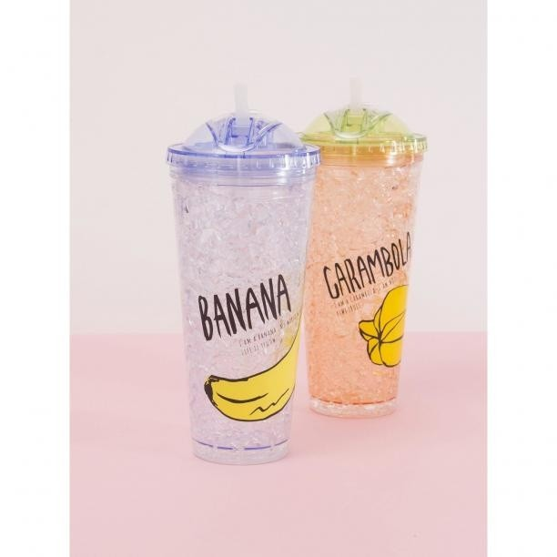 Smoothie bottle cup with straw and blue lid Neurčeno One size