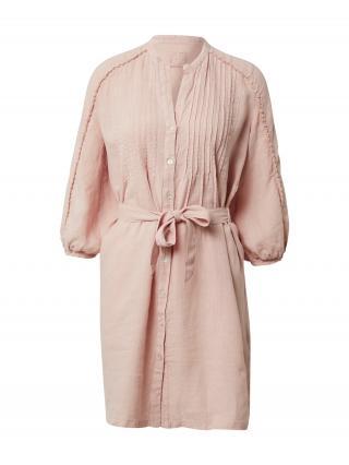 120% Lino Košeľové šaty  ružová dámské 38