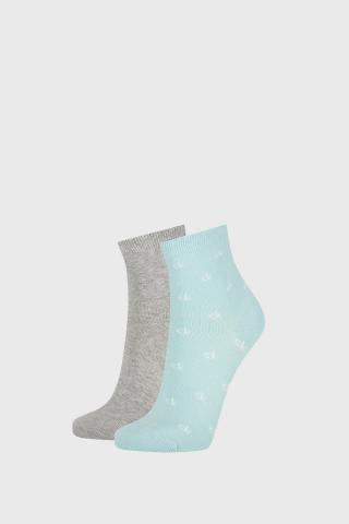 2 PACK dámskych ponožiek Calvin Klein Gretchen dámské sivo-zelená uni