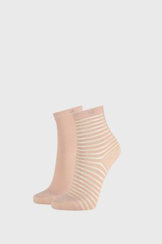 2 PACK dámskych ponožiek Calvin Klein Lilly ružové dámské ružová uni