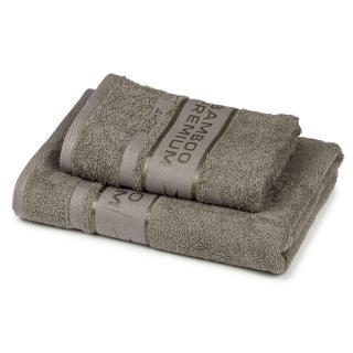 4Home Sada Bamboo Premium osuška a uterák sivá, 70 x 140 cm, 50 x 100 cm