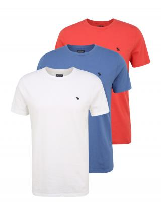Abercrombie & Fitch Tričko  biela / dymovo modrá / grenadínová pánské XS