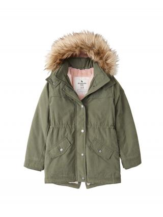 Abercrombie & Fitch Zimná bunda  kaki / svetlohnedá / ružová dámské 134-140