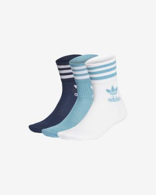 adidas Originals Mid Cut Ponožky 3 páry Modrá Biela pánské M