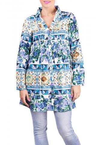 Anany farebné košeľové šaty Badalona Azul - S dámské farebná S