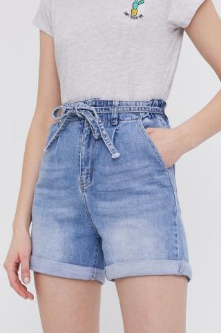 Answear Lab - Rifľové krátke nohavice dámské modrá XS