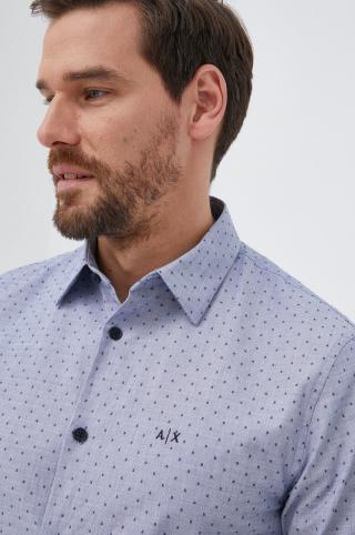 Armani Exchange - Bavlnená košeľa pánské modrá S