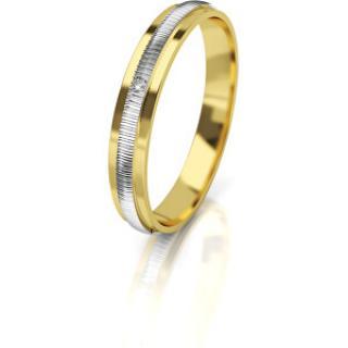 Art Diamond Dámsky bicolor snubný prsteň zo zlata s diamantom AUG328 52 mm dámské