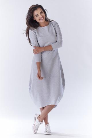 Awama Womans Dress A191 dámské Grey L