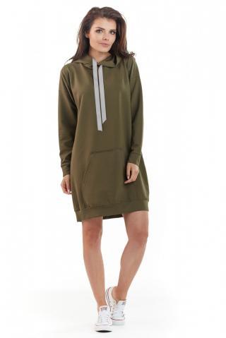 Awama Womans Dress A212 Khaki dámské Green One size