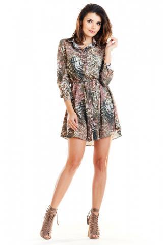 Awama Womans Dress A281 dámské Brown S
