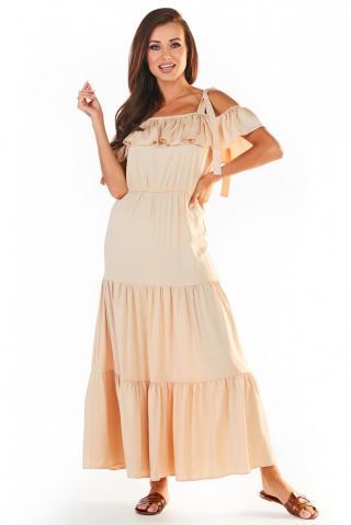 Awama Womans Dress A358 dámské Beige S