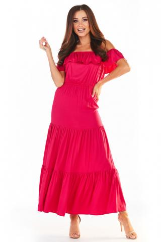 Awama Womans Dress A358 Fuchsia dámské Pink L