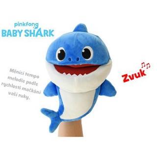 Baby Shark plyšová maňuška 23 cm modrá na batérie s voliteľnou rýchlosťou hlasu 12m   vo vrecúšku