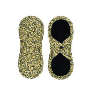 BAMBOOLIK Látková slipová vložka biobavlna satén , Tmavo modré ornamenty na zlatisto žlté