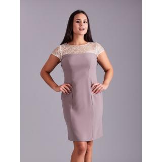 Beige dress with a decorative neckline dámské Neurčeno 38