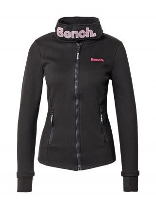 BENCH Flisová bunda Haylo  čierna / krvavo červená / svetlosivá dámské S