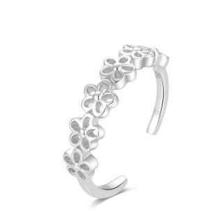 Beneto Strieborný prsteň na nohu s kvetinami AGGF483 dámské strieborná